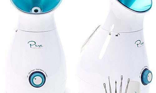 NanoSteamer – Large 3-in-1 Nano Ionic Facial Steamer with Precise Temp Control – 30 Min Steam Time – Humidifier – Unclogs Pores – Blackheads – Spa Quality – Bonus 5 Piece Stainless Steel Skin Kit