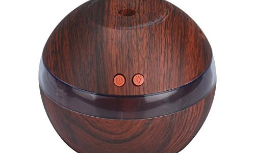 Leegor 200ml Wood grain Air Aroma Essential Oil Diffuser LED Ultrasonic Aroma Aromatherapy Humidifier Air Purifiers (Brown)