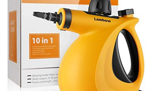 Lambow Handheld Pressurized 9 in 1 Steamer Steam Cleaner with 9-Piece Accessory Set for Bathroom, Kitchen, Surfaces, Carpet
