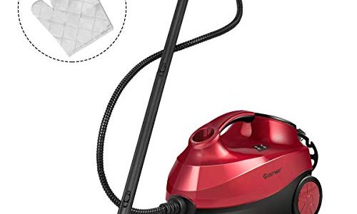 COSTWAY 2000W Multipurpose Steam Cleaner with 19 Accessories, Household Steamer w/ 1.5L Tank for Chemical-Free Cleaning, Heavy Duty Rolling Cleaning Machine for Carpet, Floors, Windows and Cars, Red