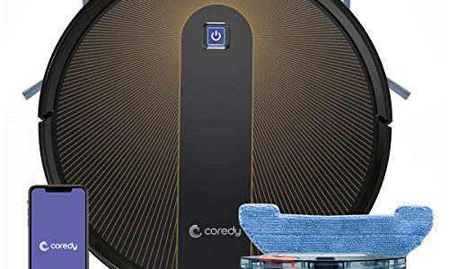 Coredy R750 Robot Vacuum Cleaner, Compatible with Alexa, Mopping System, Boost Intellect, Virtual Boundary Supported, 2200Pa Suction, Super-Thin, Upgraded Robotic Vacuums, Cleans Hard Floor to Carpet